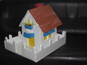Thermocol House with paper roof and colors