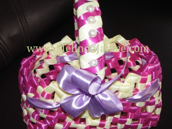 Flower Basket decorated with satin Ribbon