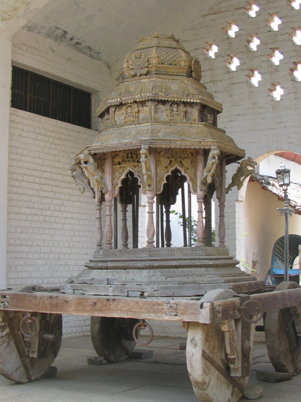 Wooden Chariot on Display